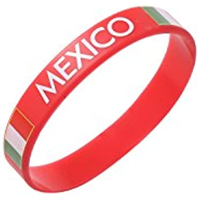Komonee Mexico Red World Cup Olympics Silicone Wristbands Pack 100 Estimated Price £44.99 -