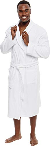 - Ross Michaels Men's Lightweight Cotton Terry Robe - Luxury Bathrobe w/Shawl Collar (White, XXL)