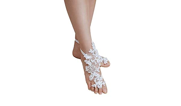 EllieHouse Womens Lace Barefoot Sandals,Beach Wedding Anklet A06