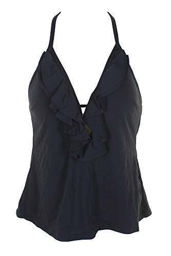 (Michael Michael Kors Women's Solids Ruffle Deep V Tankini w/Molded Cups New Navy X-Small )