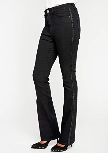 36 Black Bandes Tailles Haute 46 LOLALIZA Jeans Bootcut Denim Taille xYBFq8