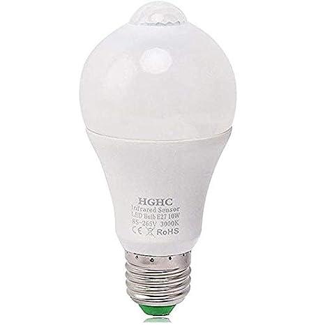Bombillas LED con sensor de movimiento PIR,10W E27 Blanco cálido 3000K, Auto encendido