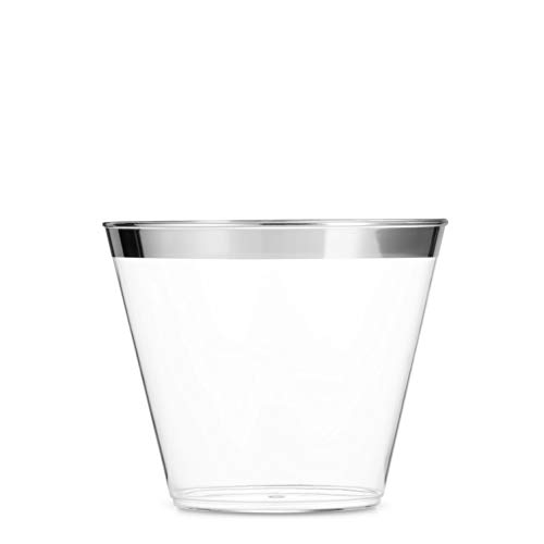 100 Silver Plastic Cups 9 Oz Clear Plastic Cups Old Fashioned Tumblers Silver Rimmed Cups Fancy Disposable Wedding Cups Elegant Party Cups with Silver Rim]()
