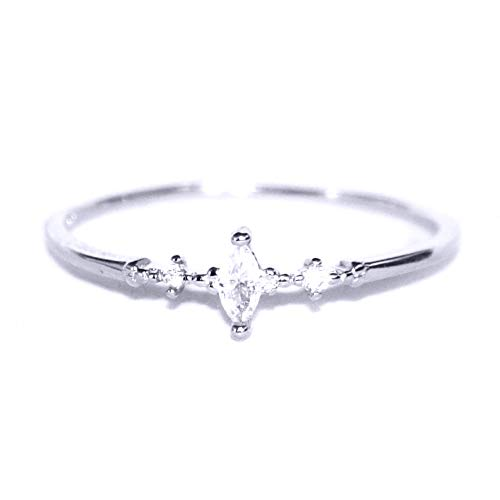 (Gieschen Jewelers EDEN .925 Sterling Silver CZ Ultra Petite Engagement Ring, Size 6)