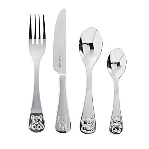 xuanL 4 Pcs Kids Cartoon Bear Animal Pattern Spoon Fork Sets Boys Girls Stainless Steel Flatware Tableware ()