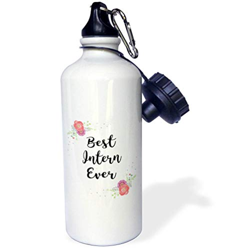 3dRose InspirationzStore - Love Series - Floral Best Intern Ever Watercolor Pink Flowers Internship Work Job - Flip Straw 21oz Water Bottle (wb_315761_2)