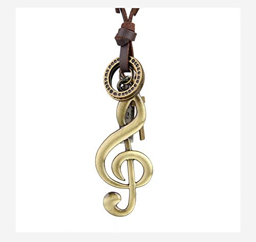 Music Note Necklace Pendants Vintage Women Men Neckless Handmade Long Adjustable Brown Rope Chain Jewelry Male