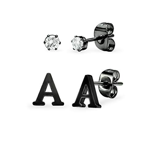 - Stainless Steel Black Tone Alphabet Initial Letter Tiny Earring Studs With Cubic Zirconia 3mm Set Letter A