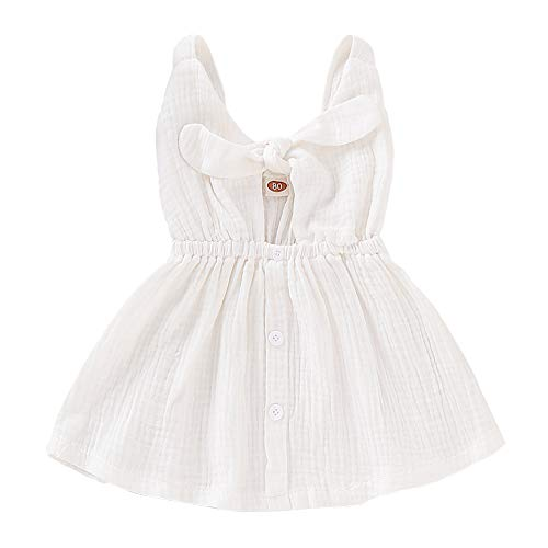 SANMIO Toddler Baby Girls Dress for Summer,Sleeveless Princess Cute Bowknot Dress White -