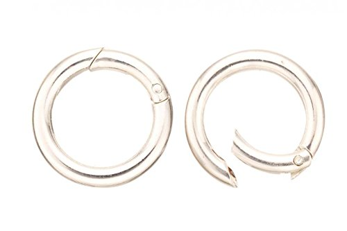 4pcs Round Twister Jewelry Clasps - Silver Plated Copper 6x32mm ()