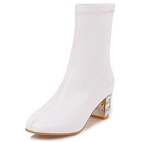 Women's Stylish Square Toe Back Zipper Block Medium Heel Synthetic Patent Leather Short Boots Shoes