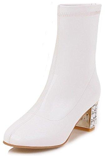 Short White Toe Summerwhisper Block Zipper Women's Shoes Back Leather Synthetic Square Patent Boots Medium Stylish Heel 7AgwxTZA