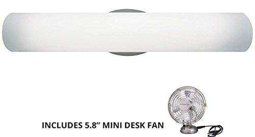 Tech照明700bclun24 C-hl、Lunaガラス壁Vanity照明、4lt、240ワットハロゲン、クローム( Includesミニデスクファン) B001TBQS78