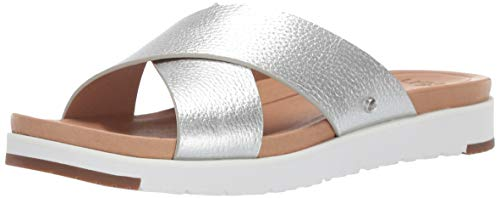 Used, UGG Women's Kari Metallic Flat Sandal, Silver, 8 M for sale  Delivered anywhere in USA