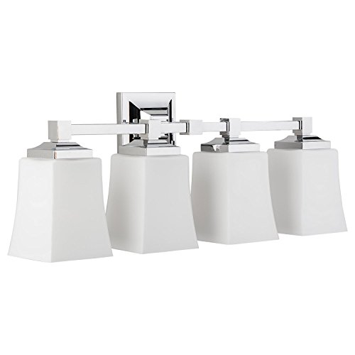 Brighton 4 Light Bathroom Vanity Fixture Chrome w/Frosted Glass Linea di Liara LL-WL240-4-PC