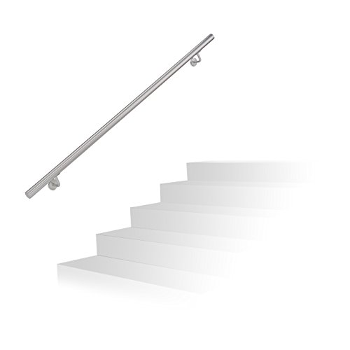 with Classic Domed End Caps Select Length Satin-Polish Brushed Stainless Steel Stair Handrail Pre-assembled