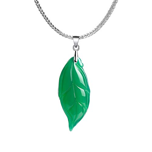 - iSTONE 925 Sterling Silver Natural Gemstone Green Agate Leaf Ladies Pendant Necklace, Gemstone Birthstone with 18