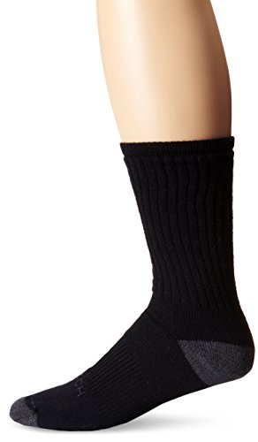 Woolrich Men's Ten Mile Hiker Crew Sock 2-Pack, Black/Gray, Size:10-13/Shoe Size: 6-12