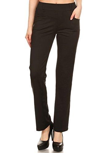 Leggings Depot Women's All Around Comfort Office Slimming Pants (Medium, Black)