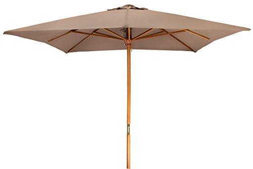8' Square Wood Frame Patio Umbrella by Trademark Innovations (Tan)