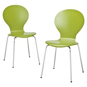 Modern Stacking Chair   Set Of 2 (Green)   Bent Plywood Chairs   Modern