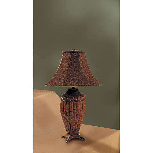 Set of 2 Table Lamps with Bamboo Style in Brown Finish
