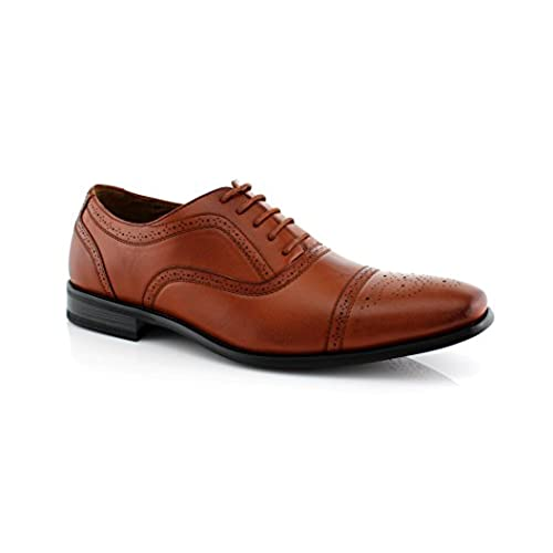 Delli Aldo Men's M-19006 Wing Tip Lace Up Leather Lining Oxford Dress Shoes  (10 D(M) US, Brown)