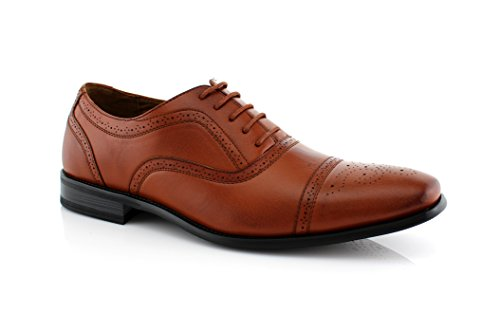 Delli Aldo Men's M-19006 Brown Wing Tip Lace Up Leather Lining Oxford Dress Shoes 9 D US