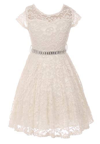 iGirldress Big Girls Floral Lace Flower Girls Dresses Ivory Size 16