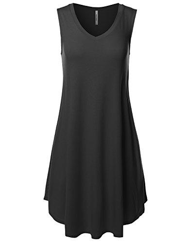 Awesome21 Solid V-Neck Sleeveless Round Hem Dress with Side Pocket Black M