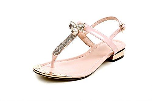 Allhqfashion Womens Rund Delas Låga Klackar Ko Läder Sandaler Med Metallornament Rosa