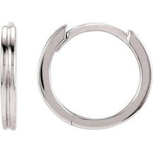 14K Boucles d'oreilles créoles Fashion rainuré en métal blanc