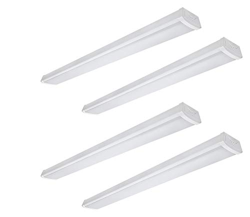 LEONLITE 40W 4ft LED Wraparound Garage Shop Light Flush Mount Ceiling Light, 100W Equiv. Ultra Bright 4000lm, Daylight 5000K for Laundry Rooms, Hallways, Offices, Workbenches, Pack of 4
