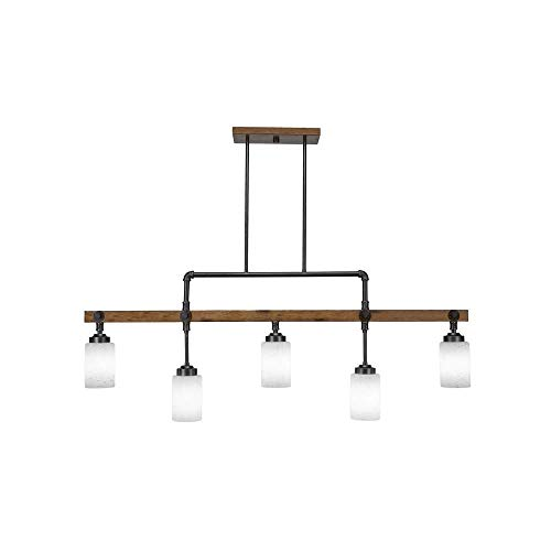 (Toltec Lighting 1145-310 Portland - Five Light Island Bar, Wood Finish with White Musiln Glass)