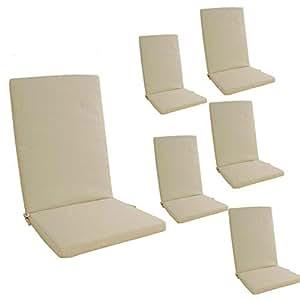 Edenjardi Pack 6 cojines para sillón de jardín reclinable estándar Olefin color crudo | Tamaño 114x48x5 cm | No pierde color | Desenfundable | Portes ...