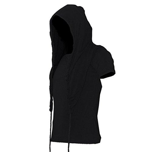 Post Apocalyptic Clothing - Mokewen Men's Tassels Drawstring Hood Short