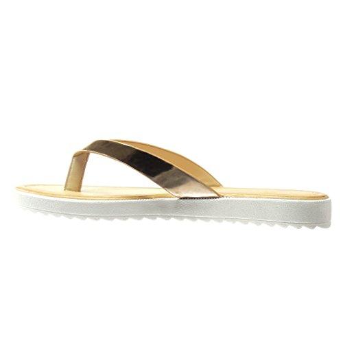 Cm flops Sandalen Schuhe spange T 2 Damen Angkorly Glänzende Champagner Flache Flip Ferse aRfPq