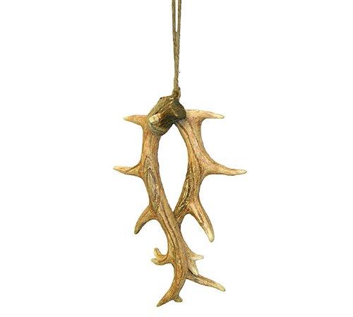 Jumbo Hand Painted Resin Rustic Deer Antler Ornament