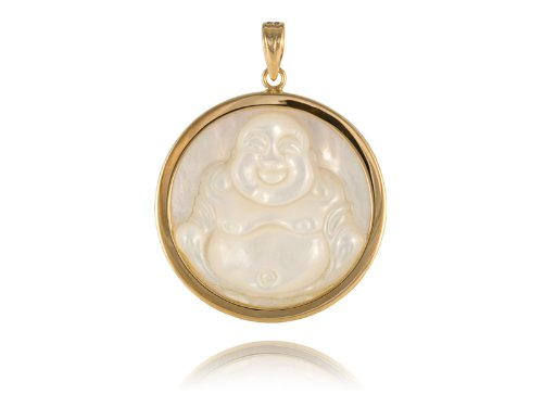Amazon white mother of pearl laughing buddha disc pendant white mother of pearl laughing buddha disc pendant 14k gold aloadofball Image collections
