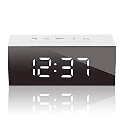 GLOUE Led Digital Alarm Clock USB Port and Battery Operated- Alarm Clocks Bedside- Temperature Display- Snooze and Large Display- Adjustable Brightness, Bedroom Mirror Travel Alarm (White Light)