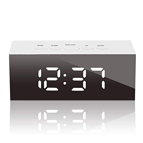GLOUE Led Digital Alarm Clock, USB Port and Battery Operated- Alarm Clocks Bedside- Temperature Display- Snooze and Large Display- Adjustable Brightness, Bedroom Mirror Travel Alarm, Simple Operation