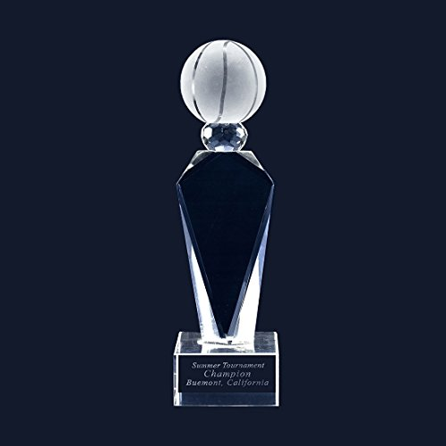 - The Twin Company Customize Laser Engraving Crystal Glass Basketball Trophy Award with Engravable Base (Medium, with Engraving)