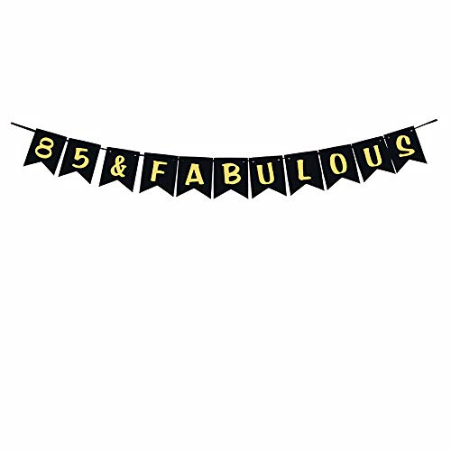 85 & Fabulous Party Banner,Gold Glitter 85th Birthday/Wedding Anniversary Party Decoration Sign Ideas -
