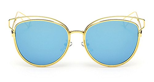 Expensive Iron Man Costumes (GAMT Mirrored Aviator Sunglasses Cat Eys Designer Style Metal Frame Gold Frame Blue)