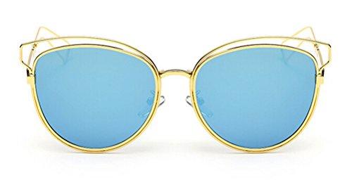 Kylie Jenner Cat Costume (GAMT Mirrored Aviator Sunglasses Cat Eys Designer Style Metal Frame Gold Frame Blue)