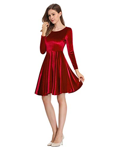 Leadingstar Women's Velvet A-Line Swing Eleglant Party Mini Dress (Burgundy, M)