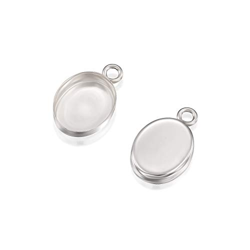 - Oval Setting with 1 Loop 925 Sterling Silver 8 x 10 mm Bezel Cup Findings for Pendants Charms Earrings, 4 Pcs