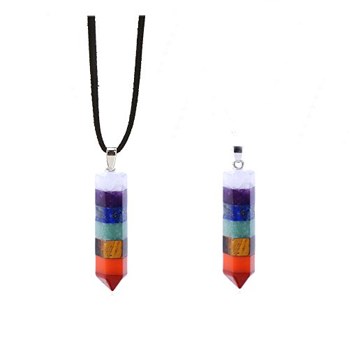 7 Natural Stone Chakra Pendant Necklace Healing Crystals Stone Yoga Symbols Pendant Necklace (2 PCS NECKLACE)