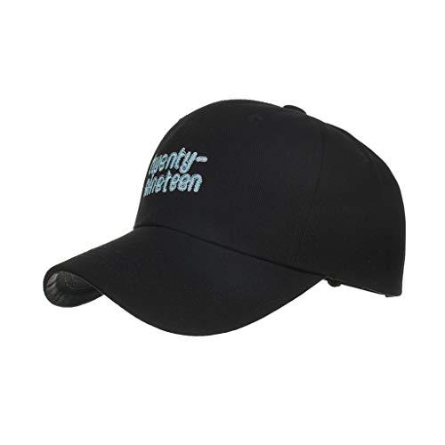 (HYIRI Twenty Nineteen B598 Cotton Letter Embroidered Baseball Cap Cap Sun Hat Fedoras Black)