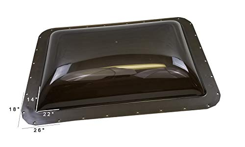 Dome Skylight - Class A Customs Premium Heavy Duty RV Camper Trailer Exterior Skylight - 18 x 26 OD / 14 x 22 ID Smoke (Tinted)